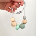 Silicone, Wood and Crochet Nursing Necklace - Peach and Mint
