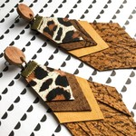 Repurposed leather tassel earrings with animal print and yellow leather feature