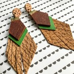 Repurposed leather tassel earrings with hand painted green leather feature