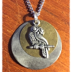 Pewter owl and bronze Necklace.