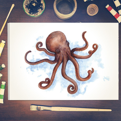 Watercolour Octopus Instant Download Printable Art | A3, A4 & A5 | Home Decor