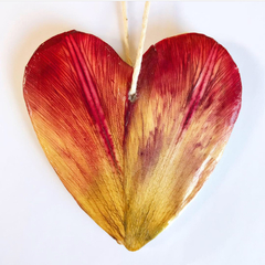 Reusable clay fragrance diffuser - heart with real pressed tulip petals