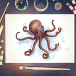 Watercolour Octopus ~ A4 Print | Ocean Marine Wall Art | Quirky Decor