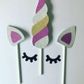 Unicorn cake topper- horn and ears.  DIY.   glitter card stock
