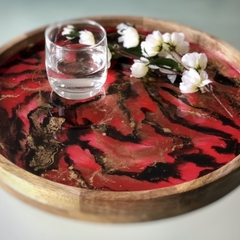 Red and Gold Resin Art Serving Tray, Mango Wood Drinks Tray.