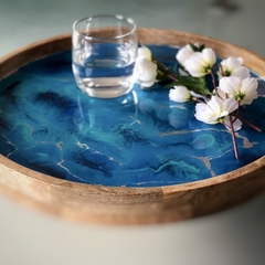 Blue and Silver Resin Art Serving Tray. Mango Wood Drinks Tray.