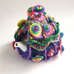 Unique crochet embellished 4-6 cup tea cosy. Purple. Rainbow. Tea pot warmer.