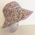 Girls summer hat in gold floral fabric