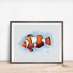 Watercolour Clownfish A5 Fine Art Print Ocean Marine Wall Art Nature Beach