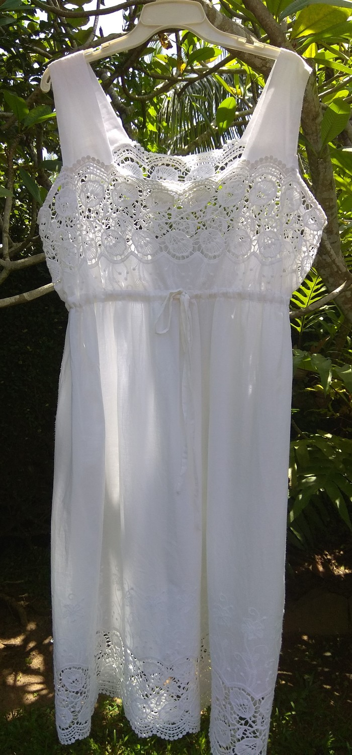 de4de31274 White Cotton Nightgown with Lace  Enbroided Material (Angela) - Size 18 in  stock
