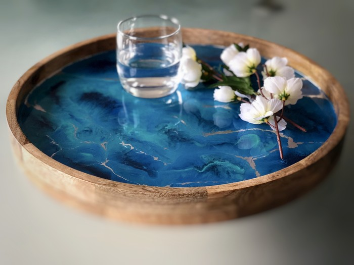 Blue And Silver Resin Art Serving Tray Mango Wood Drinks