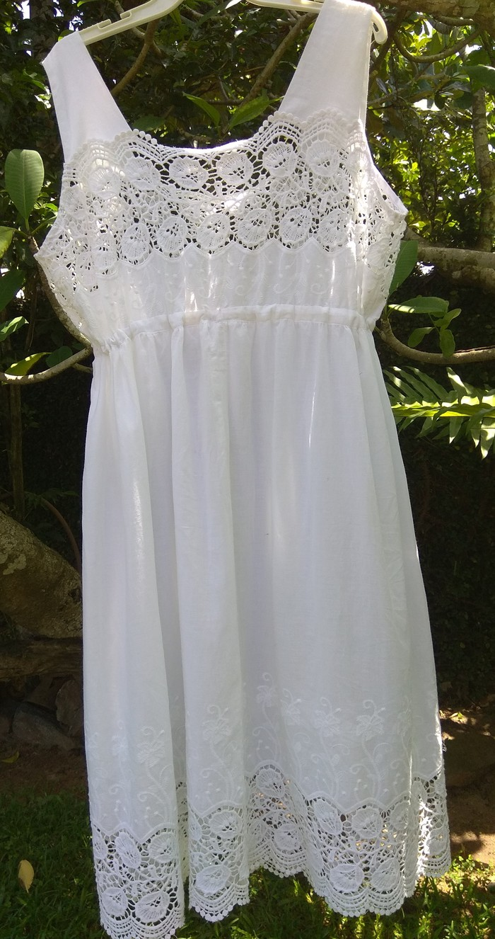 466dd37fa4 ... White Cotton Nightgown with Lace  Enbroided Material (Angela) - Size 18  in stock ...