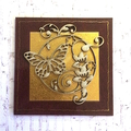 Butterfly and Flowers on Brown Leather Look Fridge Magnet