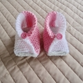 3-6mths: Baby booties/slippers in Coral pink and white by  CuddleCorner