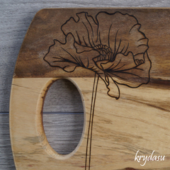 Wood Burnt Poppy Acacia Cutting Board