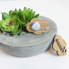 Purple Cloud Fabric Button Bamboo Brooch