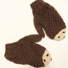 Toddler size 3 - 5 woodland hedgehog mittens - brown and cream