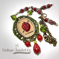 El Corazon vintage matchbox beaded necklace OOAK