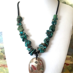 Natural Sea SEDIMENT JASPER and Rough Blue & Green TURQUOISE Necklace.