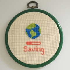 CROSS STITCH WALL ART. Saving the planet.