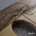 Wood Burnt Poppy Acacia Cutting Board