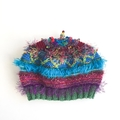 Embellished knit hat/beret/beanie. Bright colours. 15 years to adult. Beads.