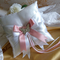 BRIDAL WEDDING RING PILLOW white and dusty pink satin crystal butterfly page boy