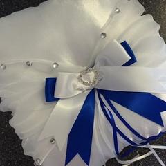 BRIDAL WEDDING RING PILLOW white and Navy blue satin organza crystals page boy