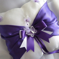 BRIDAL WEDDING RING PILLOW white and purple satin butterflies page boy
