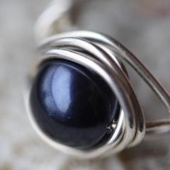 Sterling Silver Wire Wrap Ring Swarovski Crystalised Pearl Dark Blue
