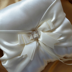BRIDAL WEDDING RING PILLOW - ivory satin square heart diamantes - page boy