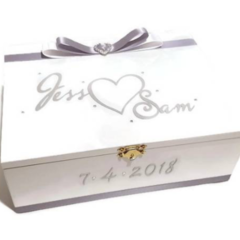 Silver & White Wedding, Keepsake, Trinket, Memory, Jewellery, Wooden Box