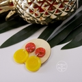Neon Pink Glitter and Yellow Bloom - Button Stud - Dangle earrings