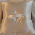 BRIDAL WEDDING RING PILLOW white and Royal blue satin heart crystals page boy