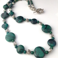 SET 3: Genuine Blue Cyan PERUVIAN CHRYSOCOLLA  Necklace, Earrings and Bracelet.