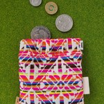 Woven bright rainbow squeeze headphone pouch coin purse wallet