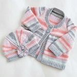 Baby girl outfit to 4 months, cardigan and hat in pretty colours, lovely gift