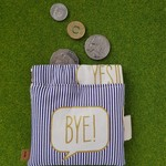 BYE! Metallic striped squeeze headphone pouch coin purse wallet