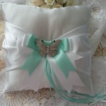 BRIDAL WEDDING RING PILLOW white and mint green satin crystal butterfly page boy
