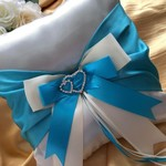 BRIDAL WEDDING RING PILLOW ivory and Tiffany blue satin heart crystals page boy