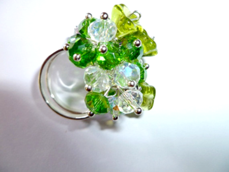 Green and clear faceted crystals and green glass flowers ring