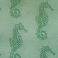 100% Cotton Wrap - Green  Sea Horse Print, 90cm x 90cm