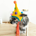 Crochet Dog Druid Hat, Dog Party hat, Dog Beanie, Dog Pom Pom Hat