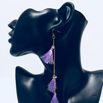 Gold and lilac tassels earrings.