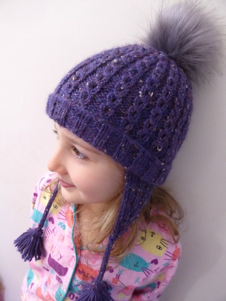 Purple knit earflap hat, with faux fur pompom & tassels - child to small adult