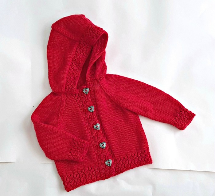 4e88851f9 Hand knit wool hoodie for baby 3 - 6 months