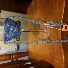 Crocheted Wine Glass Lanyard Blue