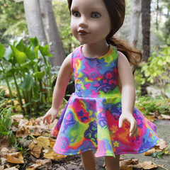 "Fluoro Racer Back Skater Dress for Slim 46cm (18"") Dolls"