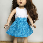 "Blue and White Summer Dress for Slim 46cm (18"") Doll"