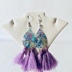 Sterling silver earrings,  with teardrop pendants and lilac silk tassels.